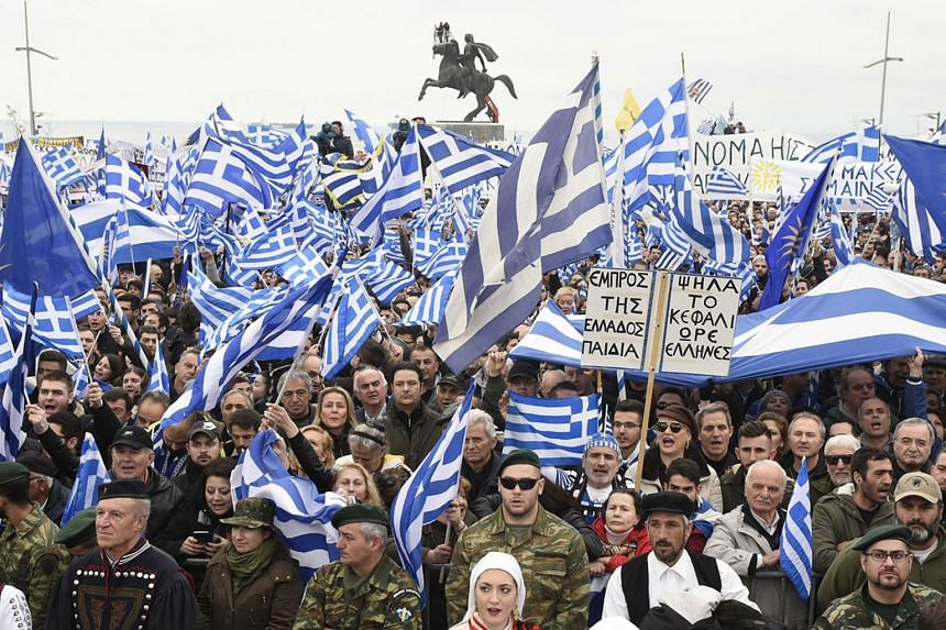 """Protesters take part in a rally against the use of the term """"Macedonia"""" in any solution to a dispute between Athens and Skopje over the former Yugoslav republic's name, in Thessaloniki, Greece, on Jan 21, 2018."""