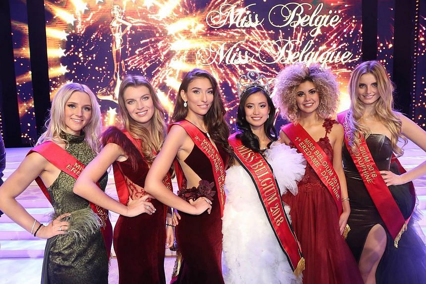 Ms Angeline Flor Pua (third from right), who was born in the Belgian city of Antwerp, has a Chinese-Filipino father and a Filipino mother. She was crowned Miss Belgium on Jan 13, beating 29 other contestants. Many critics have questioned her national