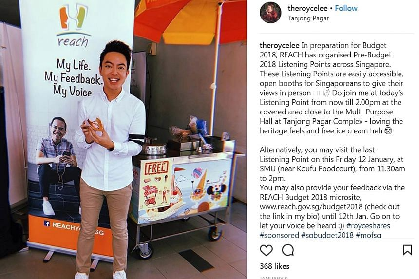 Screenshots of posts on Budget 2018 by influencers (from top) Shanel Lim, Royce Lee and Chelsea Teng on their Instagram pages. The Ministry of Finance said the Instagram campaign is part of its overall public communications for Budget 2018, adding th