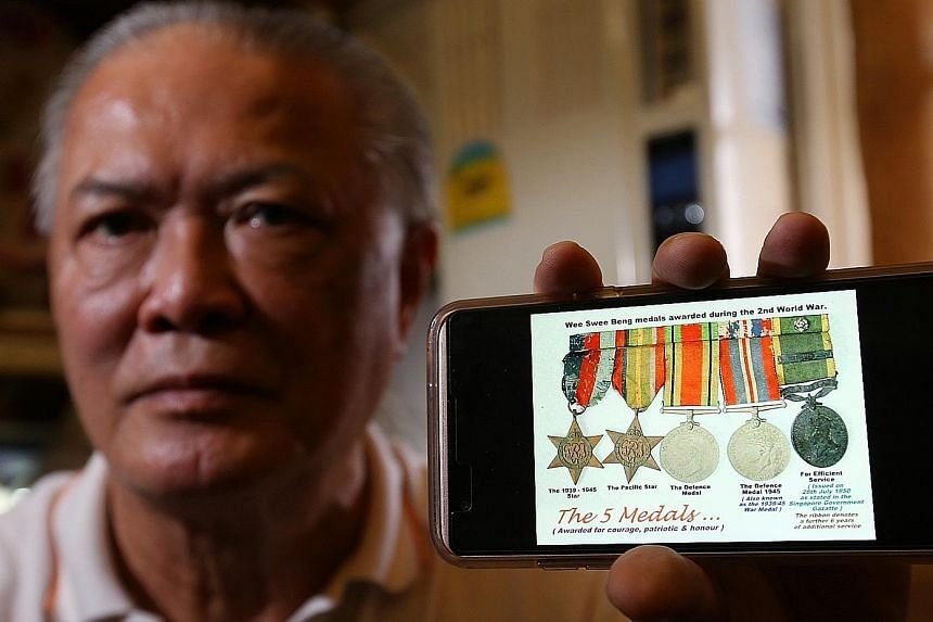 The elder Mr Wee served in a volunteer force during World War II. Mr Tony Wee with an image of the five medals his father won for his service.