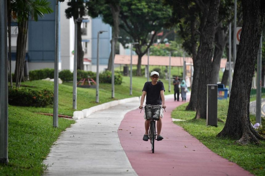 A cyclist riding on the designated bike lane across Heartbeat @ Bedok on Jan 20, 2018.
