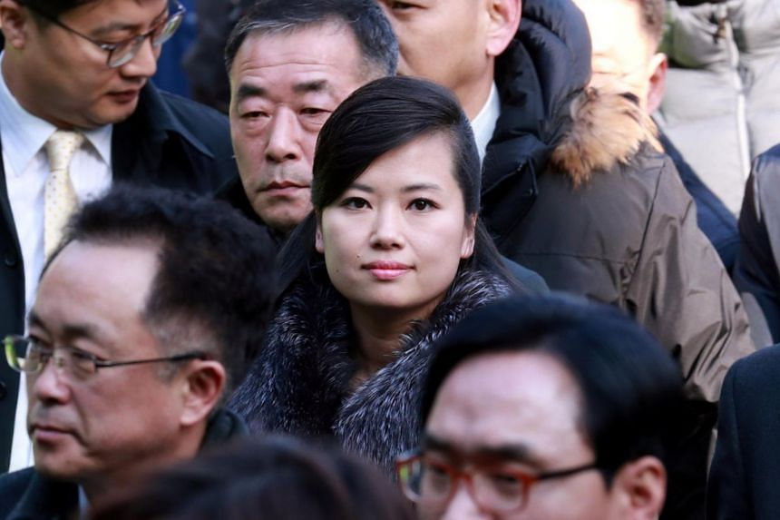 Hyon Song Wol, head of North Korea's Samjiyon Orchestra, arrives at a railway station in Seoul on Jan 21, 2018.