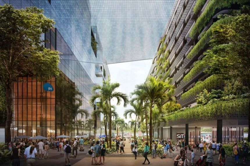 """The Punggol Digital District is a pilot project for what is being termed an """"enterprise district"""", with the authorities studying if this model can be applied to other areas in the future."""