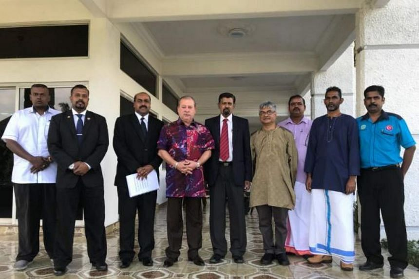 Johor Sultan Ibrahim Sultan Iskandar (fourth from left) with Johor Unity and Human Resources committee chairman R. Vidyananthan (third from left), temple representatives and other local leaders during a meeting at the palace, on Jan 21, 2018.