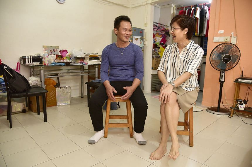 Mr Joel Lee Hong Seng and Madam Lorinne Kon in his one-room rental flat in Jalan Besar (left) and in her 1,600 sq ft condominium unit in Balestier. The close friends often chat over tea at a coffee shop near his flat.