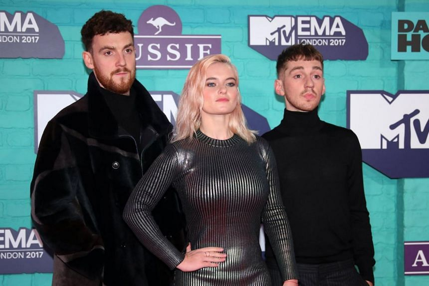 British group Clean Bandit arriving at the 2017 MTV Europe Music Awards at the Wembley Arena in London on Nov 12, 2017.