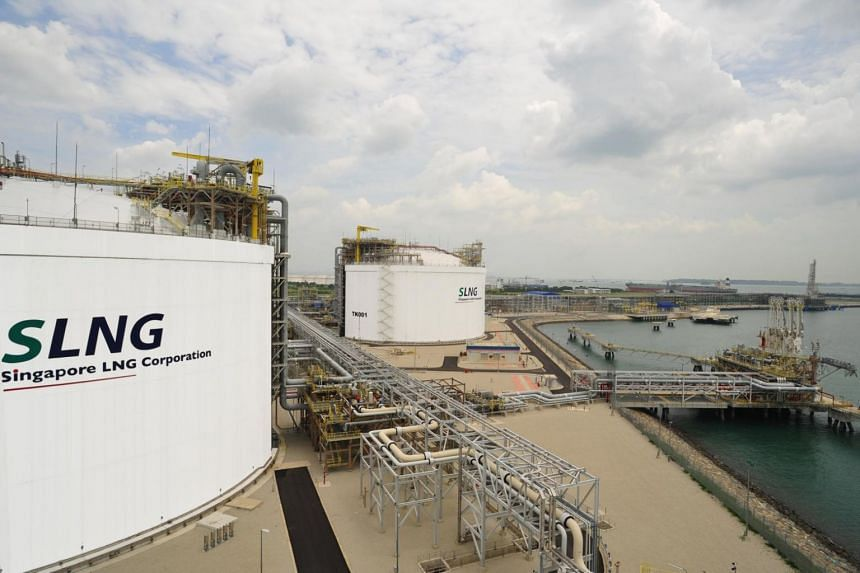 Singapore's liquefied natural gas (LNG) terminal storage tanks on Jurong Island.