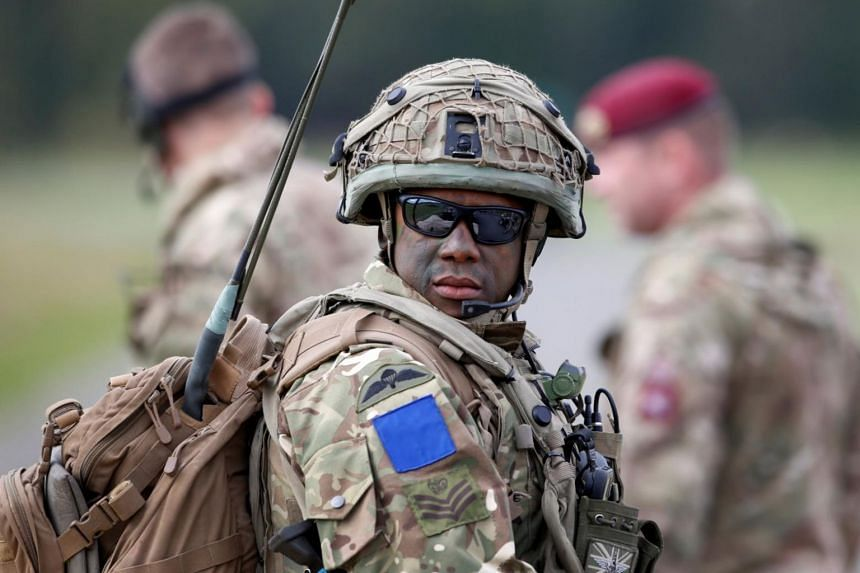 A British soldier is pictured during an exercise of the US Army's Global Swift in Germany on Oct 9, 2017.