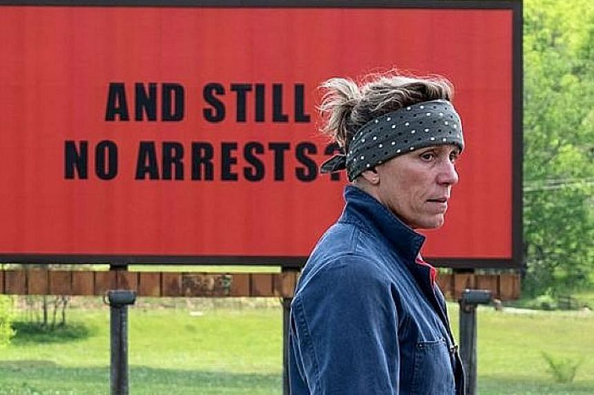 Frances McDormand is nominated for Best Lead Actress for her role in Three Billboards Outside Ebbing, Missouri.