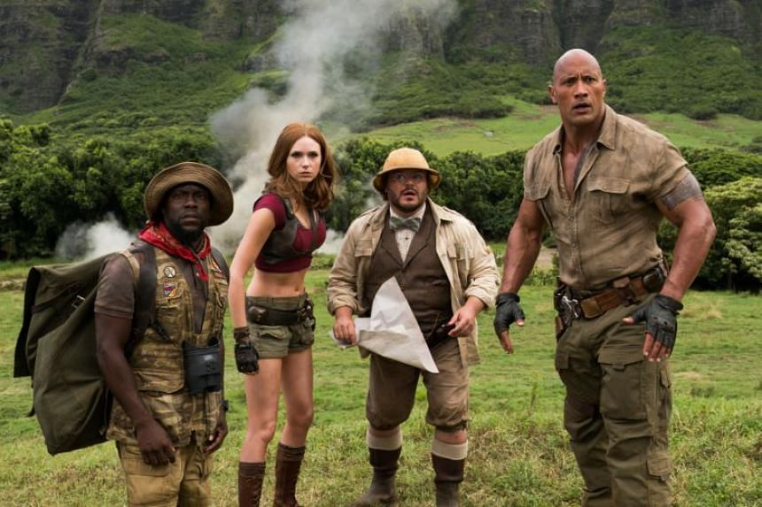"""Jumanji: Welcome To The Jungle, starring Dwayne """"The Rock"""" Johnson along with funnymen Jack Black and Kevin Hart, continued to stomp the competition at the North American box office, taking the top spot for the third straight week."""