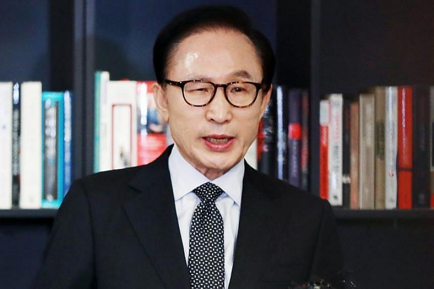 "Former South Korean president Lee Myung Bak (above), who stepped down at the end of his single five-year term in 2013, denounced the probe as a ""political revenge""."