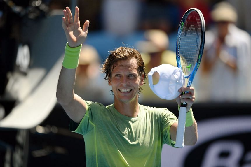 Tomas Berdych celebrating his victory over Fabio Fognini at the Australian Open on Jan 22, 2018.
