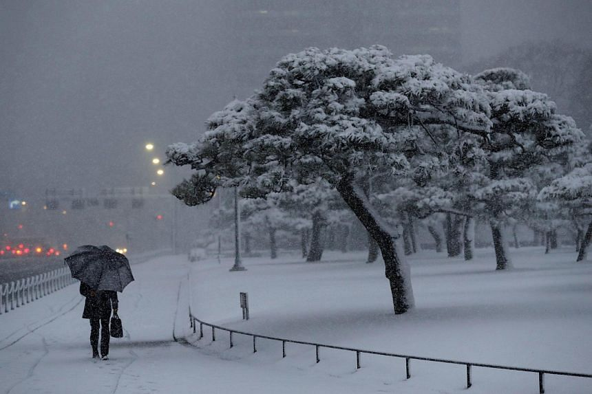 A man making his way through heavy snow near the Imperial Palace, on Jan 22, 2018.