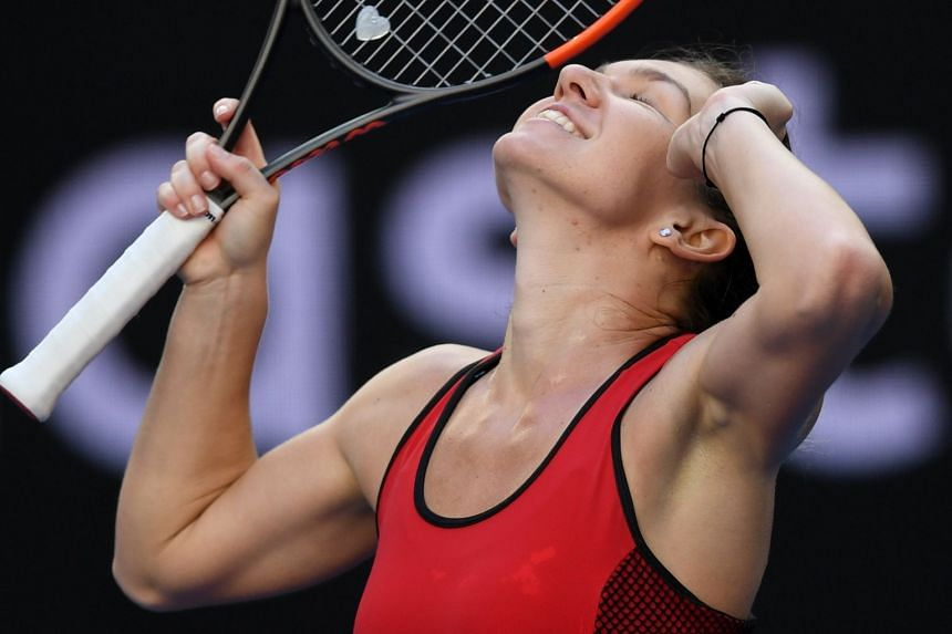 Simona Halep celebrating after defeating Naomi Osaka in the Australian Open, on Jan 22, 2018.