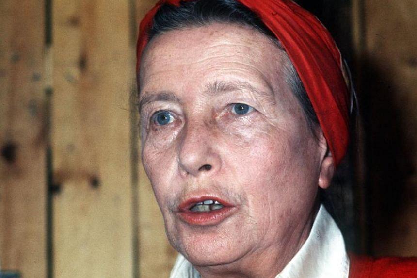 French writer Simone de Beauvoir speaking in Paris on Sept 1, 1975.