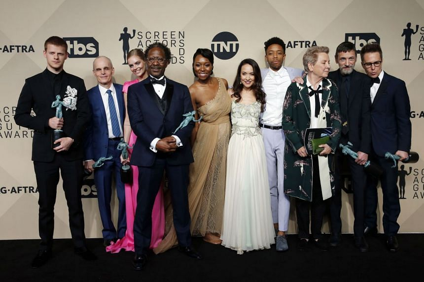 The cast of Three Billboards Outside Ebbing, Missouri posing backstage with their award for Outstanding Cast in a Motion Picture at the 24th Screen Actors Guild Awards in Los Angeles, California, US, on Jan 21, 2018.