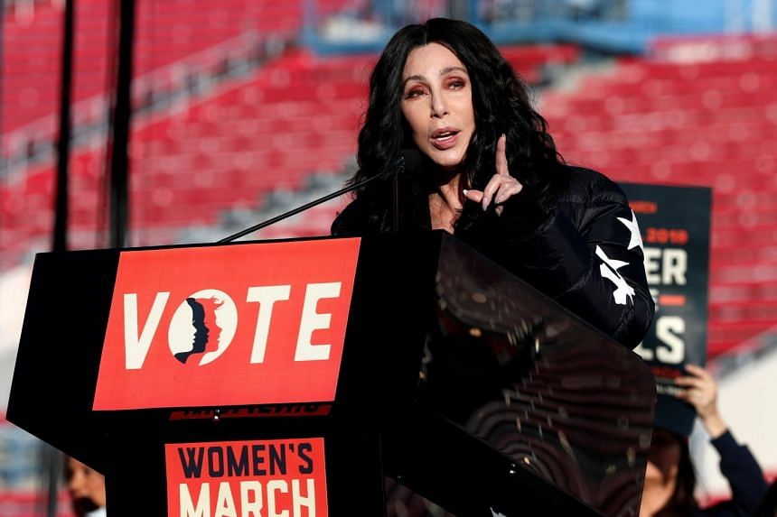 Singer/actress Cher speaking at the Women's March rally in Las Vegas, Nevada.