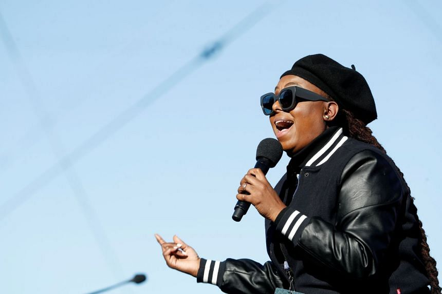 Singer Ledisi performs during the Women's March rally in Las Vegas, Nevada.