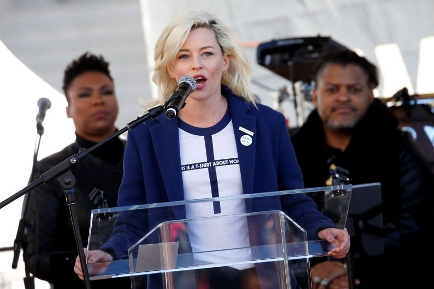 Actress Elizabeth Banks speaks at the Women's March in Los Angeles, California.