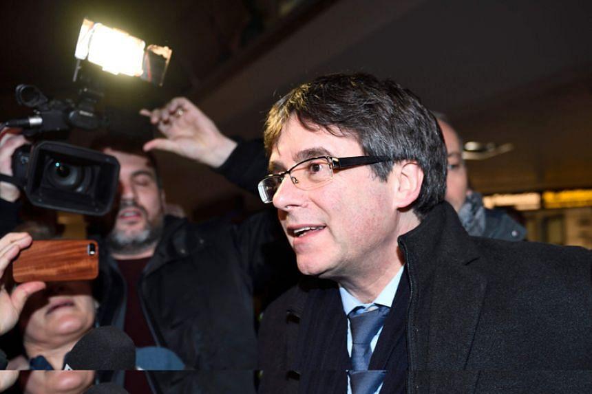 Former Catalan leader Carles Puigdemont arrives at Copenhagen Airport on Jan 22.