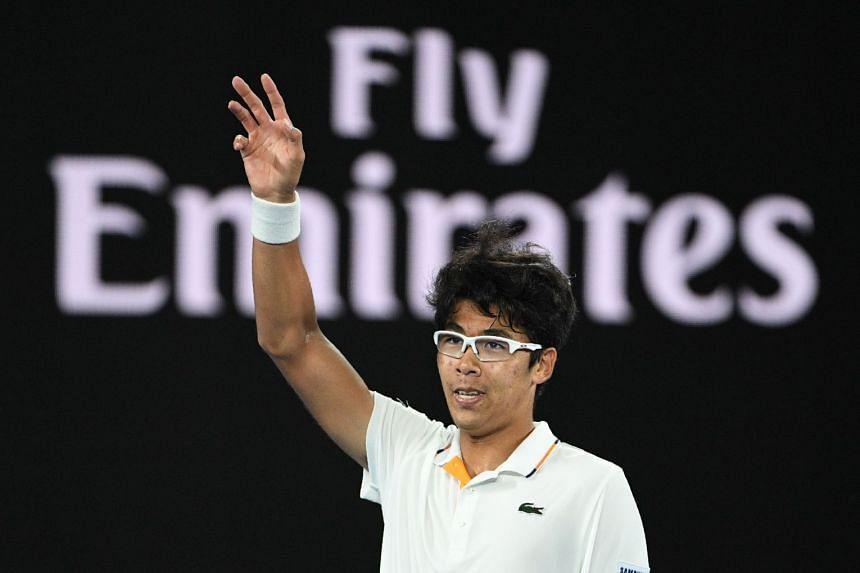 South Korea's Hyeon Chung celebrates beating Novak Djokovic in their men's singles fourth round match on day eight of the Australian Open, on Jan 22, 2018.