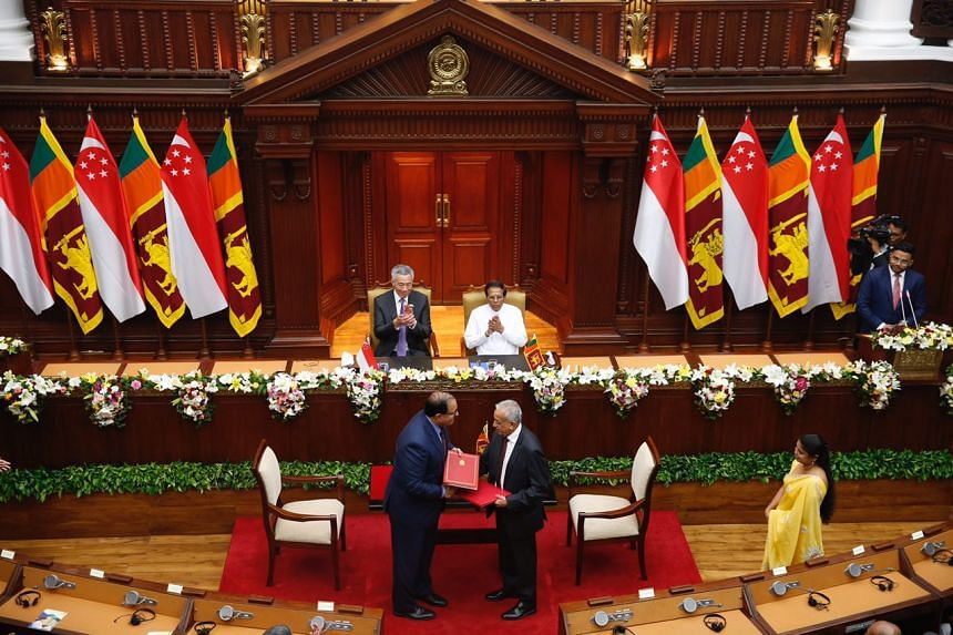 Prime Minister Lee Hsien Loong and Sri Lankan President Maithripala Sirisena witnessed the signing of the Singapore-Sri Lanka Free Trade Agreement between Minister of Trade and Industry (Industry) S Iswaran and Sri Lanka's Minister for Development