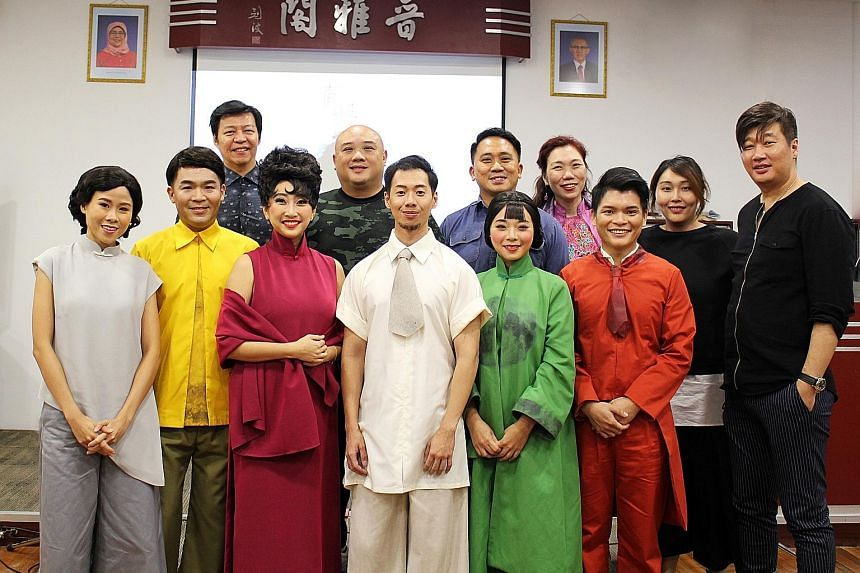 The cast of Sometime Moon includes (front row from left) Abby Lai, Ian Chionh, Chriz Tong, Joel Low, Trissie Liew and Derrick Tay. In the back row are (from left) composer Benny Wong, director Goh Book Teck, producer Justin Wong and vocal coach Elain