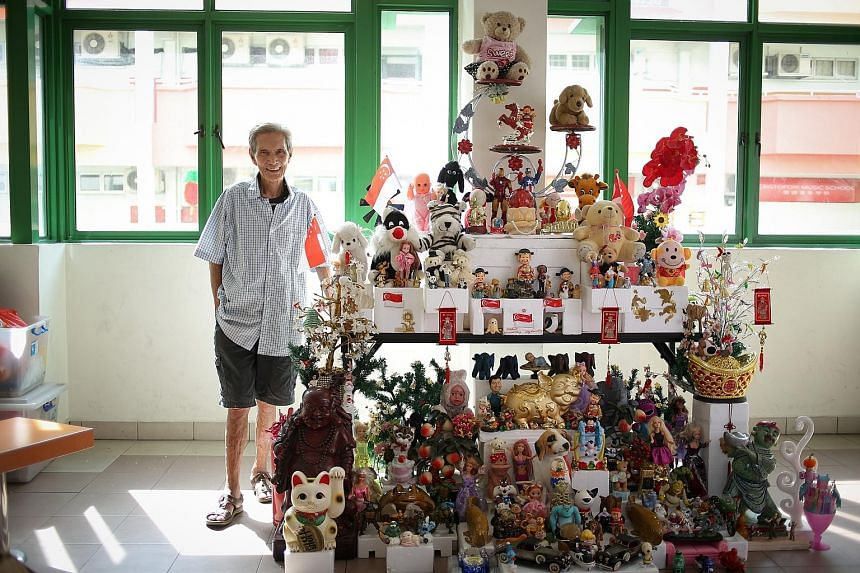 Long-time Yishun resident Or Beng Kooi, 77, is happy to be able to start the year on a good note with his new toy tower, which is on display at Chong Pang CC until March 3. Mr Or has toned down his trademark cheeky style to suit a wider audience.