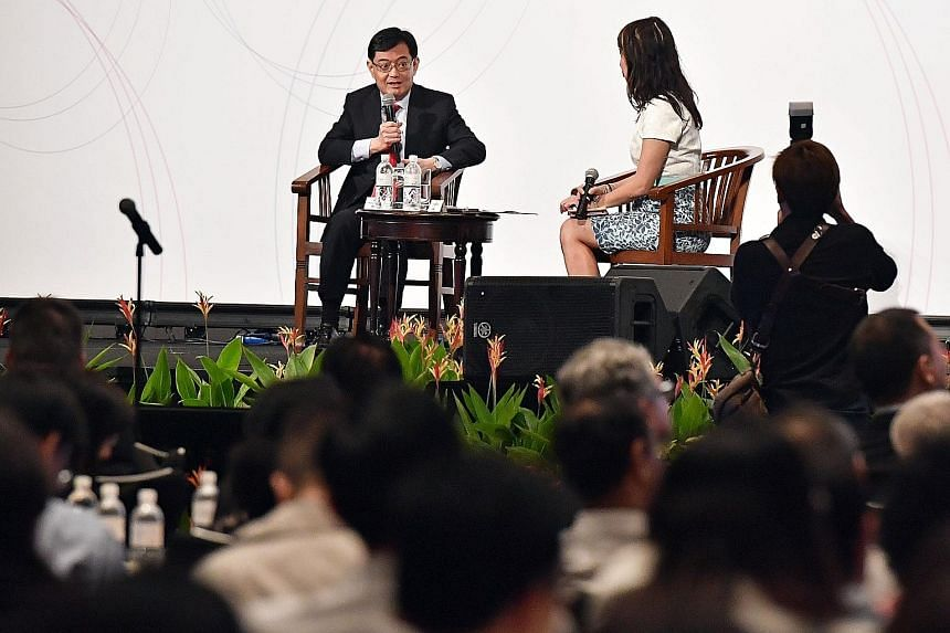 Finance Minister Heng Swee Keat speaking yesterday at the conference organised by the Institute of Policy Studies. He said he was happy that Singaporeans believed good political leadership was important for the country.