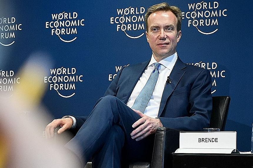 """Mr Borge Brende at a press conference in Cologny, near Geneva, on Jan 16. He says there is a trust deficit in the world today and """"we need to re-create trust, and the basis for cooperation, between governments"""" as well as """"between government and busi"""