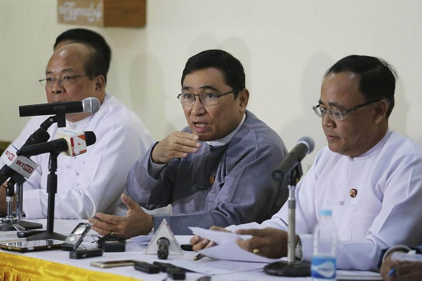 Myanmar officials speak to the media during a press conference on Rakhine State's situation in Naypyitaw on Jan 23.