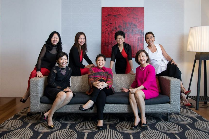 The women of DBS Group's management committee, who make up 30% of its members. (L-R) Eng-Kwok Seat Moey, head of capital markets group; Pearlyn Phau, deputy group head of consumer banking & wealth management; Tan Su Shan, group head of  wealth manage