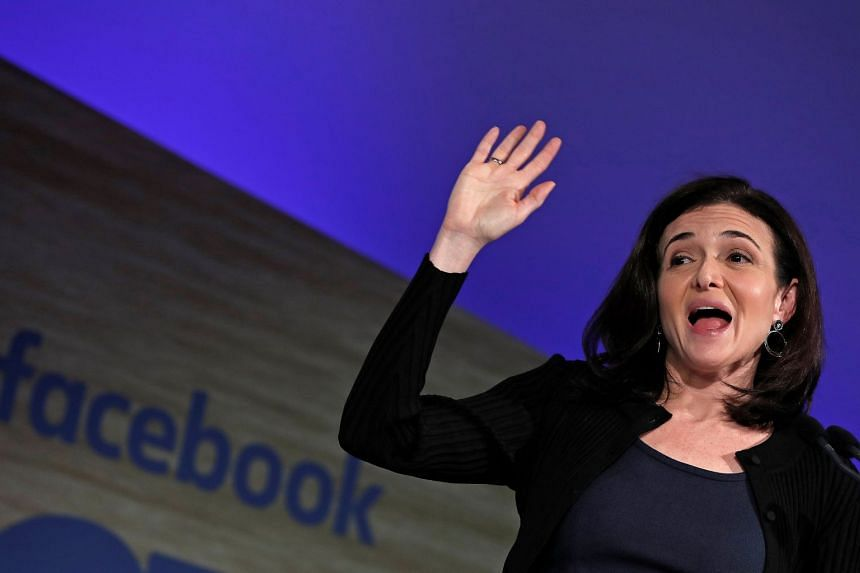 Facebook chief operating officer Sheryl Sandberg speaking at the Facebook Gather conference in Brussels on Jan 23, 2018.