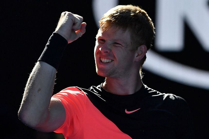 Kyle Edmund celebrating after defeating Grigor Dimitrov in the Australian Open on Jan 23, 2018.