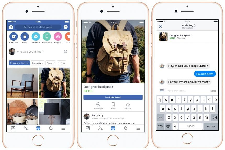 Facebook's new Marketplace feature allows users to list and browse items for sale and filter results by location, price and categories such as furniture, electronics and apparel.