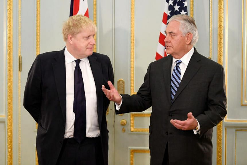 US Secretary of State Rex Tillerson and Britain's Foreign Secretary Boris Johnson attend a press conference in London, on Jan 22, 2018.