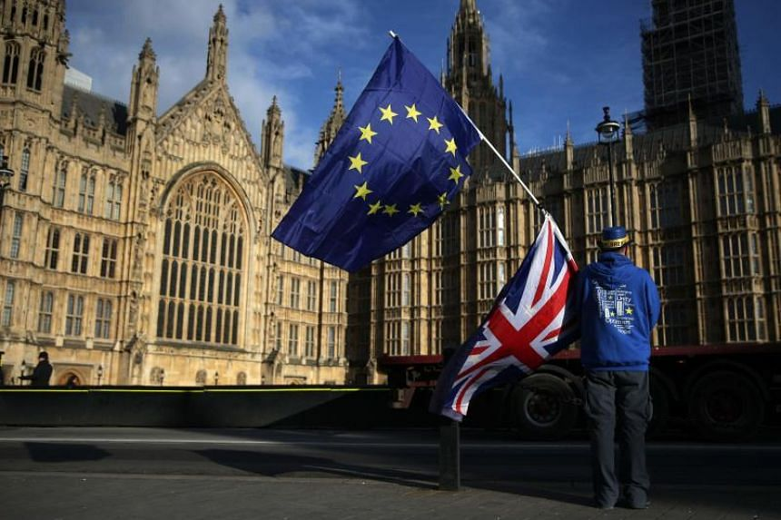 A pro-European Union, anti-Brexit demonstrator holds the EU and UK flags outside the Houses of Parliament, in central London on Jan 22, 2018.