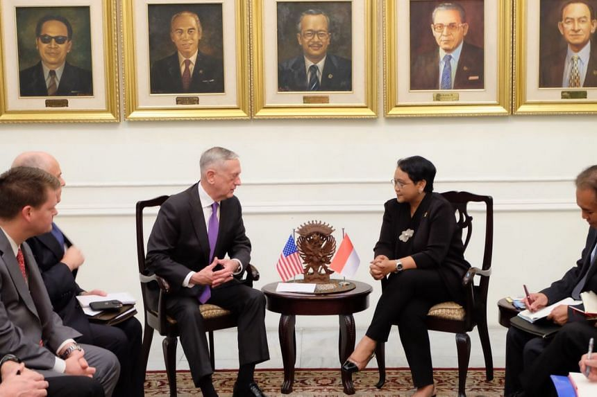 United States Defence Secretary James Mattis meeting Indonesian Foreign Minister Retno Marsudi in Jakarta on Jan 22.