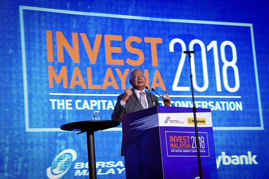 Malaysian Prime Minister Najib Razak giving the opening speech at the Invest Malaysia 2018 conference on Jan 23.