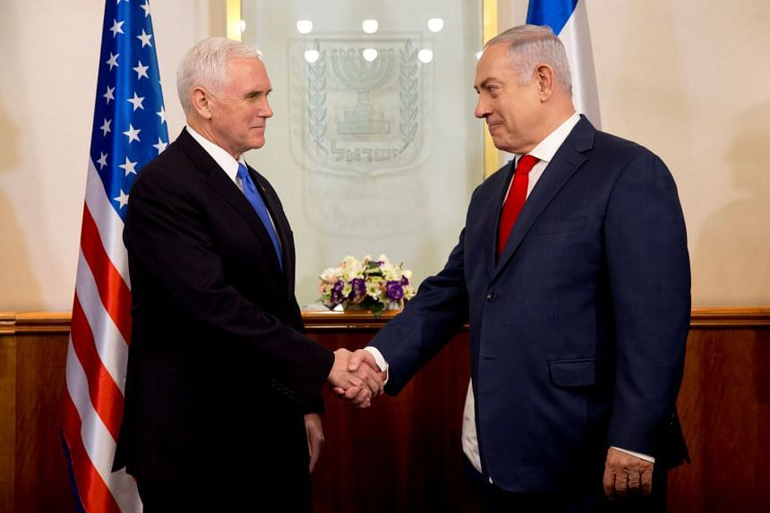 US Vice-President Mike Pence shakes hands with Israeli Prime Minister Benjamin Netanyahu during a meeting in Jerusalem, on Jan 22.