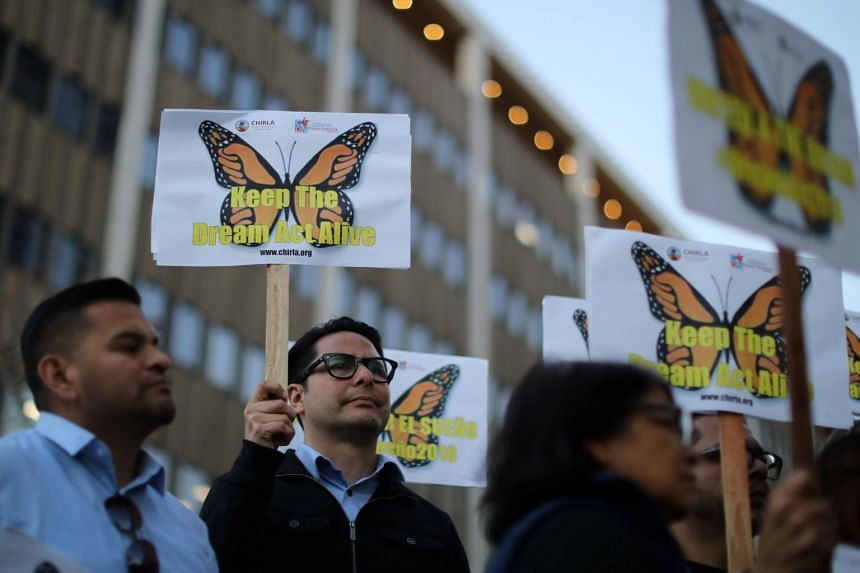 People protest for immigration reform for DACA recipients and a new Dream Act, in Los Angeles, California, on Jan 22, 2018.