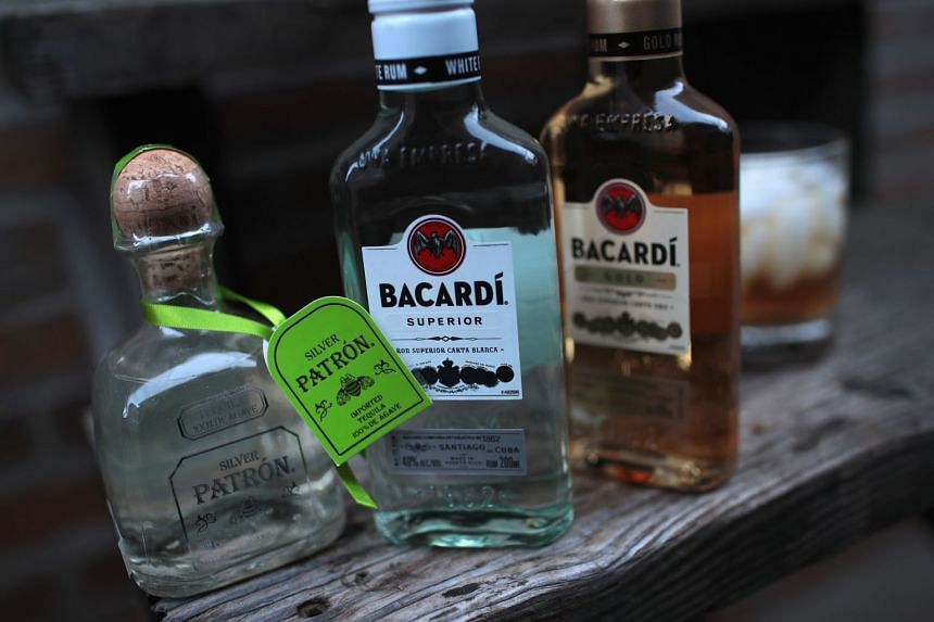 Bacardi rum and Patrón tequila are pictured on Jan 22, 2018, in Chicago, Illinois.