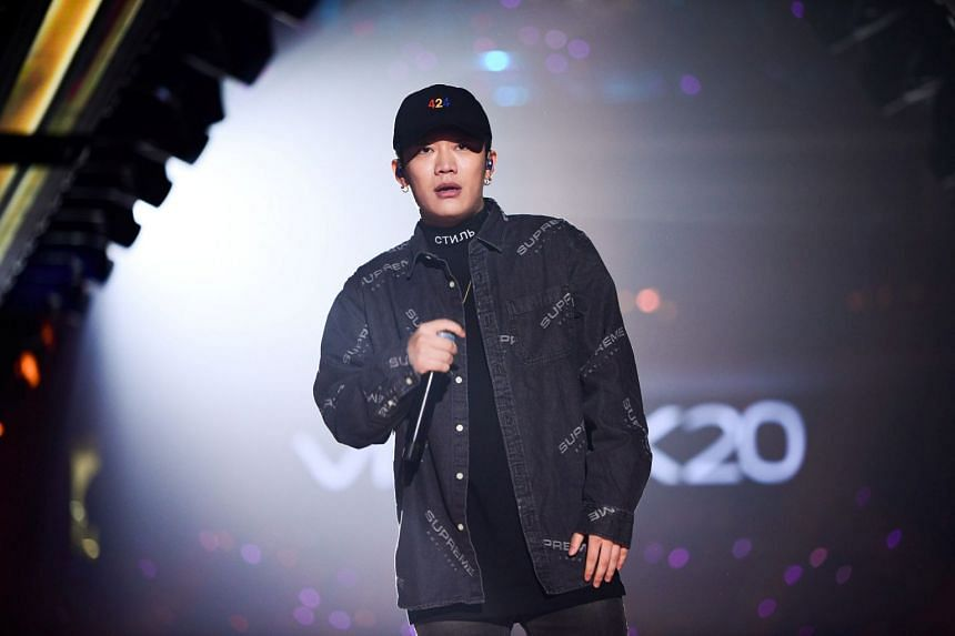 Chinese rap singer Wang Hao, better known by his stage name PG One, performs during a New Year concert in Guangzhou, China.