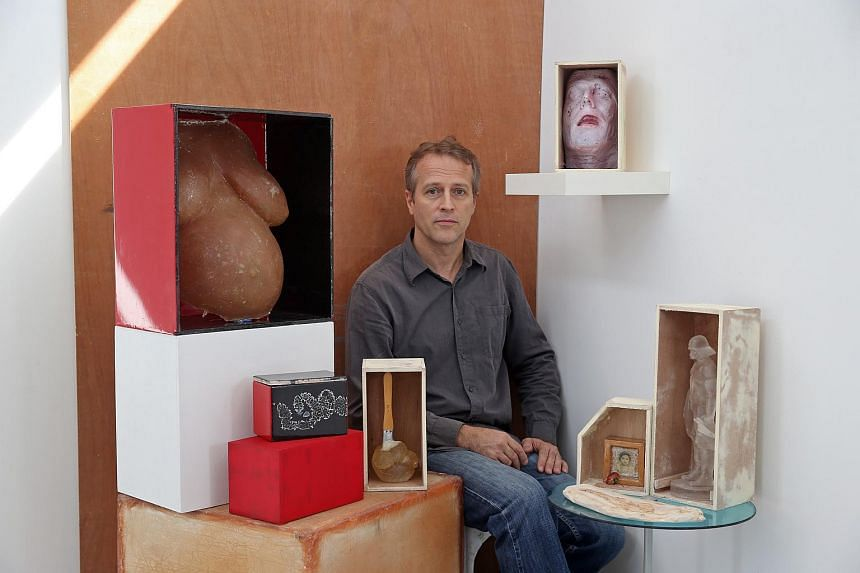 Dutch artist Iskander Walen's art exhibition, Boxed Up, consists of various works arranged inside boxes.