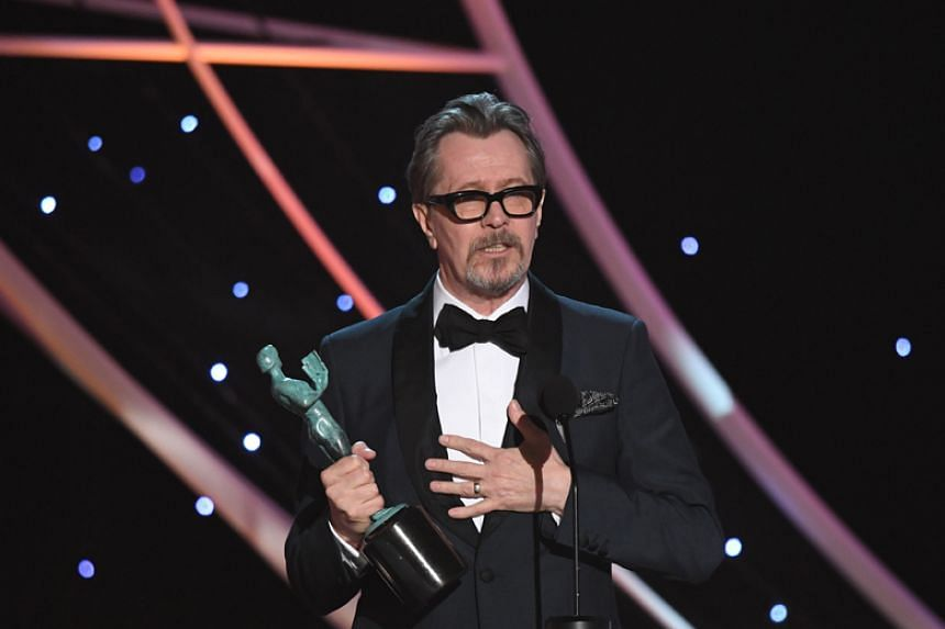 Gary Oldman bags best actor for playing wartime leader Winston Churchill in Darkest Hour at the Screen Actors Guild Awards on Jan 21.