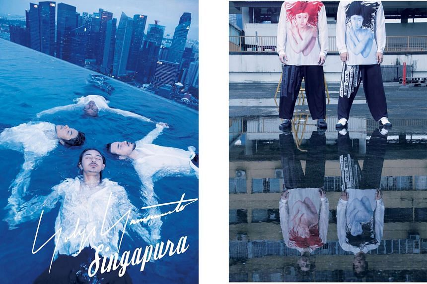Japanese fashion designer Yohji Yamamoto's photobook for his 2018 spring-summer men's collection was shot in Singapore and includes the city's skyline and famous landmarks.