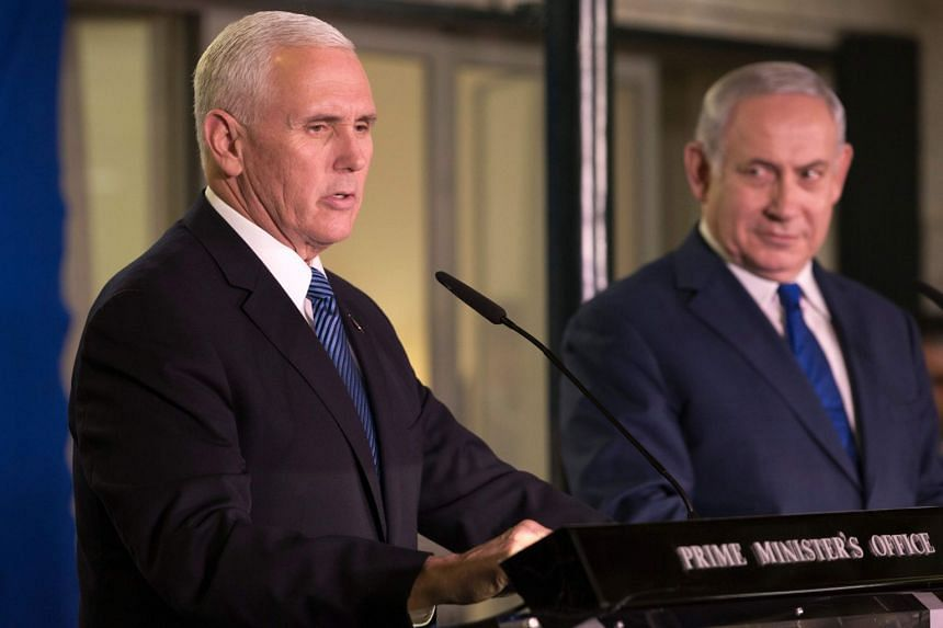 US Vice-President Mike Pence (left) delivering a statement on Jan 22 at Israeli Prime Minister Benjamin Netanyahu's residence in Jerusalem.