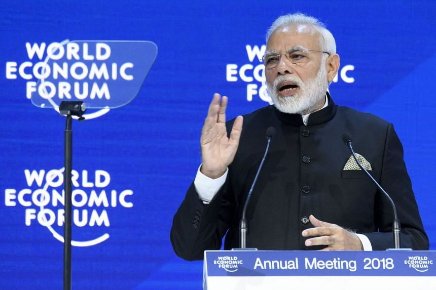 Indian PM Narendra Modi speaking during a plenary session in the Congress Hall on the opening day of the World Economic Forum, in Davos, Switzerland, on Jan 23, 2018.
