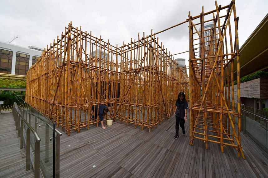 Visitors walking through the bamboo installation, by artist Rirkrit Tiravanija, on the roof of the National Gallery on Jan 23, 2018.