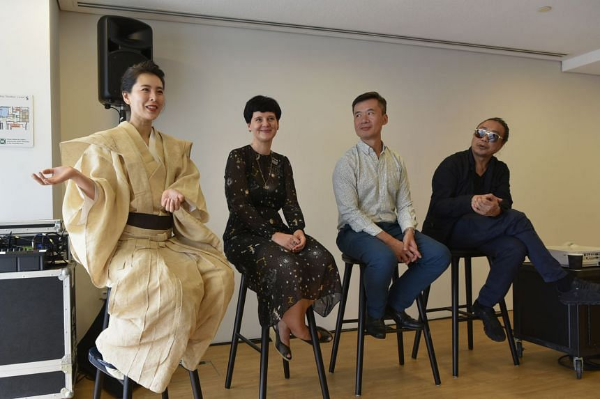 (From left) Tea master Mai Ueda, curator Silke Schmickl, National Gallery director (Curatorial, Collections and Education) Low Sze Wee and artist Rirkrit Tiravanija speaking at a media event on Jan 23, 2018.